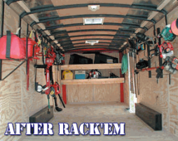 RACK EM trailer organizing system